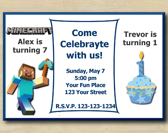 twin minecraft and first birthday birthday invitation