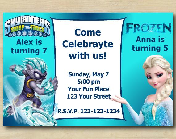 Twin Skylanders and Frozen Invitation | FreezeBlade | Personalized Digital Card