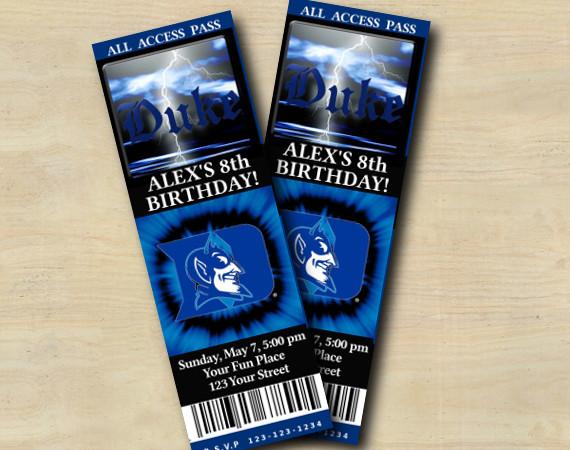 Duke Blue Devils Ticket Invitation   Personalized Digital Card