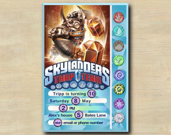 Skylanders Game Card Invitation   Wallop   Personalized Digital Card