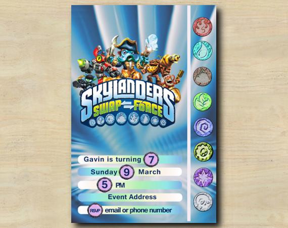 Skylanders Game Card Invitation   Personalized Digital Card