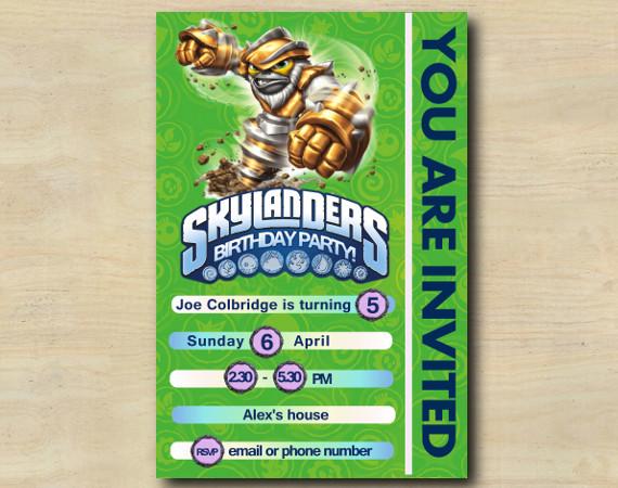 Skylanders Game Card Invitation | GrillaDrilla | Personalized Digital Card