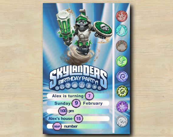 Skylanders Game Card Invitation   DoomStone   Personalized Digital Card