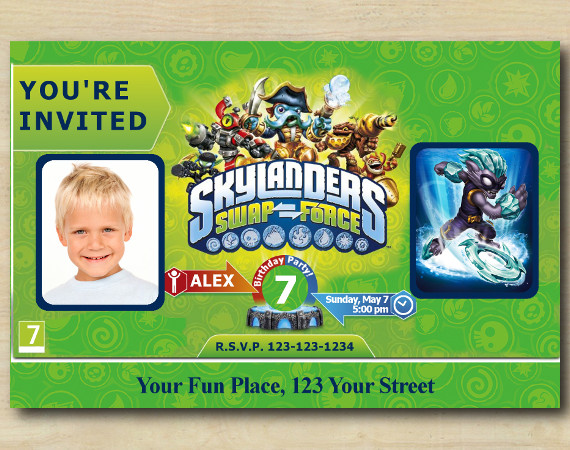 Skylanders Invitation with Photo | FreezeBlade Birthday Invitation | Personalized Digital Card