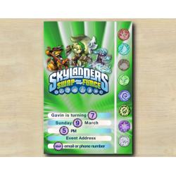 Skylanders Game Card Invitation | RattleShake, StinkBomp, FreezeBlade