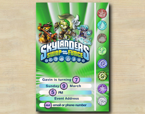 Skylanders Game Card Invitation | RattleShake, StinkBomp, FreezeBlade | Personalized Digital Card
