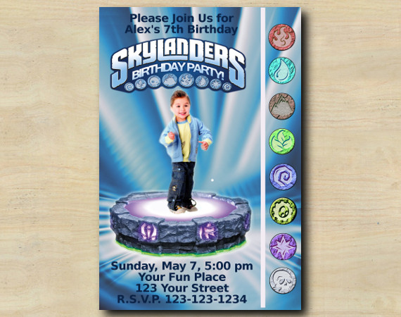 Skylanders Game Card Invitation with Photo   Personalized Digital Card