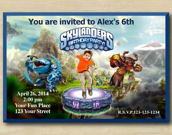 Skylanders Invitation with Photo | Thumpback, TreeRex Birthday Invitation | Personalized Digital Card
