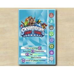 Skylanders Game Card Invitation | FoodFight, Wallop, SnapShot, Shroomboom
