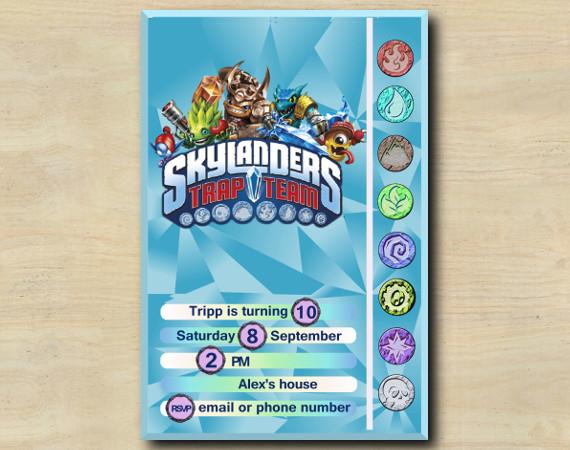 Skylanders Game Card Invitation   FoodFight, Wallop, SnapShot, Shroomboom   Personalized Digital Card