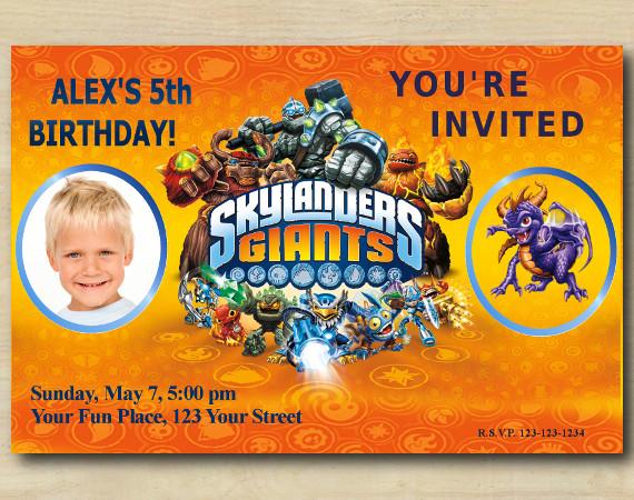 Skylanders Invitation with Photo   Spyro Birthday Invitation   Personalized Digital Card
