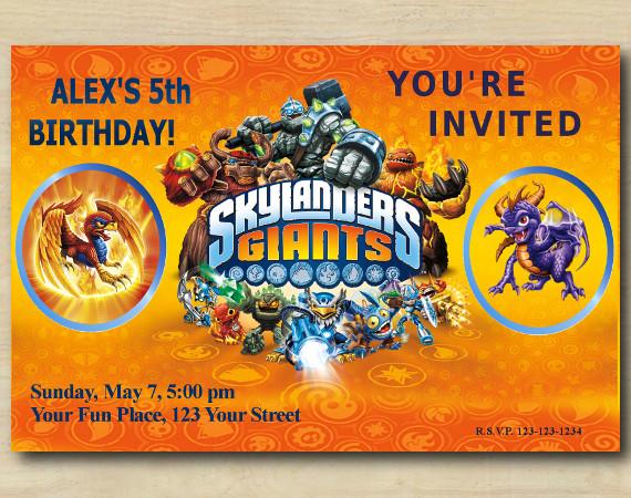 Skylanders Invitation   Sunburn, Spyro   Personalized Digital Card