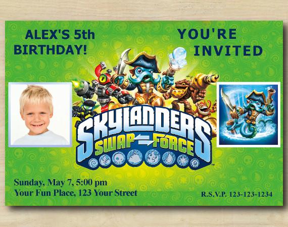 Skylanders Invitation with Photo | WashBuckler Birthday Invitation | Personalized Digital Card