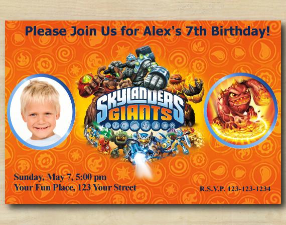 Skylanders Invitation with Photo   Eruptor Birthday Invitation   Personalized Digital Card