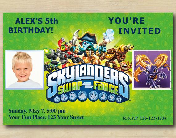 Skylanders Invitation with Photo | Spyro Birthday Invitation | Personalized Digital Card