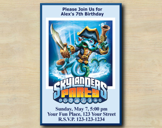Skylanders Invitation   WashBuckler   Personalized Digital Card