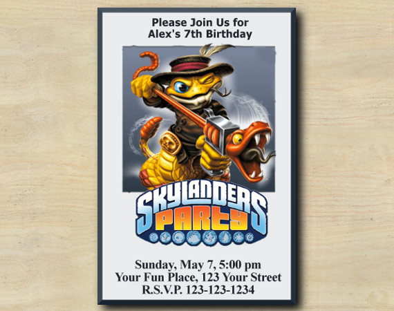 Skylanders Invitation   RattleShake   Personalized Digital Card