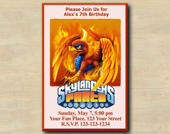 Skylanders Invitation   Sunburn   Personalized Digital Card
