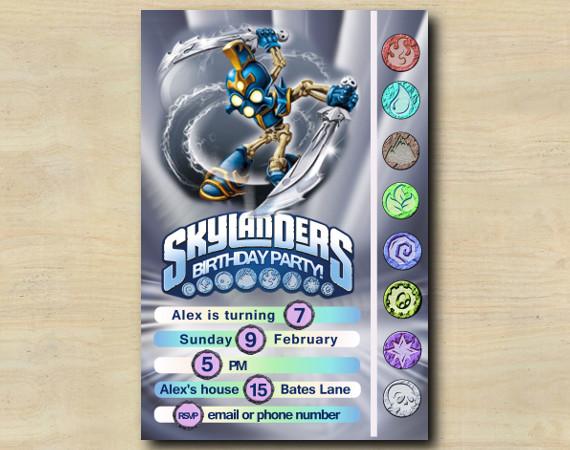 Skylanders Game Card Invitation   ChopChop   Personalized Digital Card