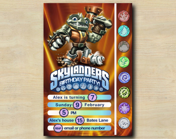 Skylanders Game Card Invitation | RubbleRouser | Personalized Digital Card