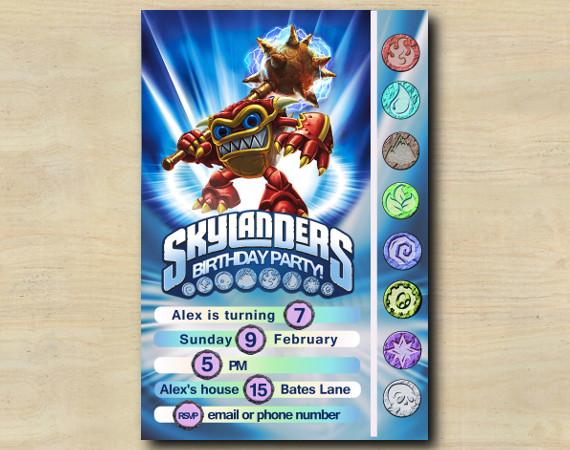Skylanders Game Card Invitation   WhamShell   Personalized Digital Card