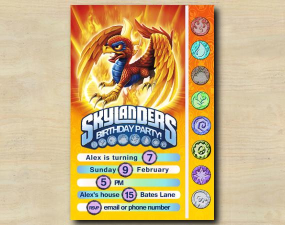 Skylanders Game Card Invitation | Sunburn | Personalized Digital Card