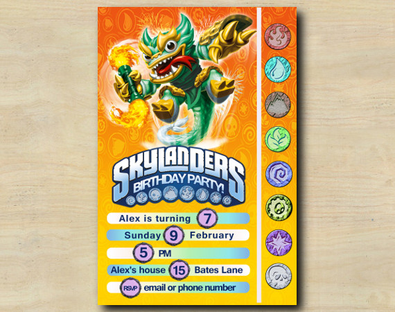 Skylanders Game Card Invitation |  JadeFireKraken | Personalized Digital Card