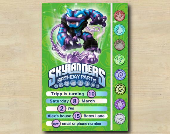 Skylanders Game Card Invitation   TrapShadow   Personalized Digital Card