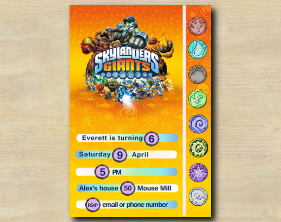 Skylanders Game Card Invitation | Personalized Digital Card