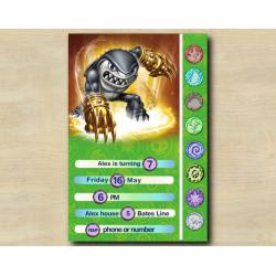 Skylanders Game Card Invitation | Terrafin