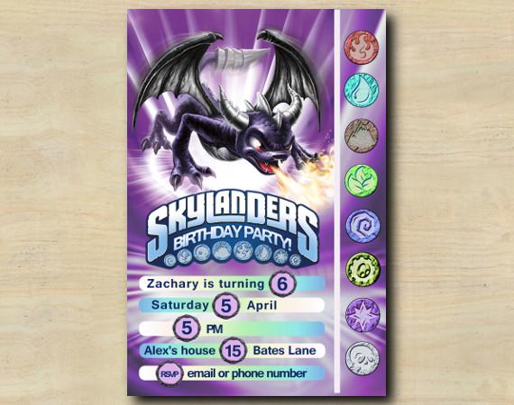 Skylanders Game Card Invitation | Spyro | Personalized Digital Card
