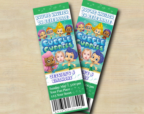Bubble Guppies Ticket Invitation with Photo   Personalized Digital Card