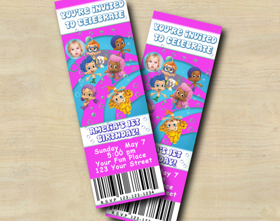 Bubble Guppies Ticket Invitation with Photo | Personalized Digital Card