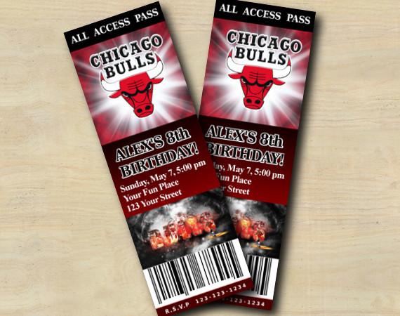 Chicago Bulls Ticket Invitation   Personalized Digital Card