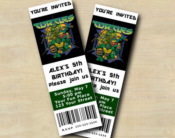 TMNT Ticket Invitation | Personalized Digital Card