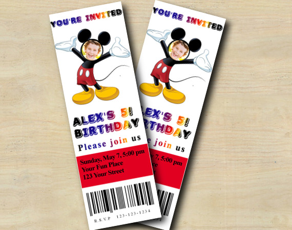 Mickey Ticket Invitation with Photo | Personalized Digital Card