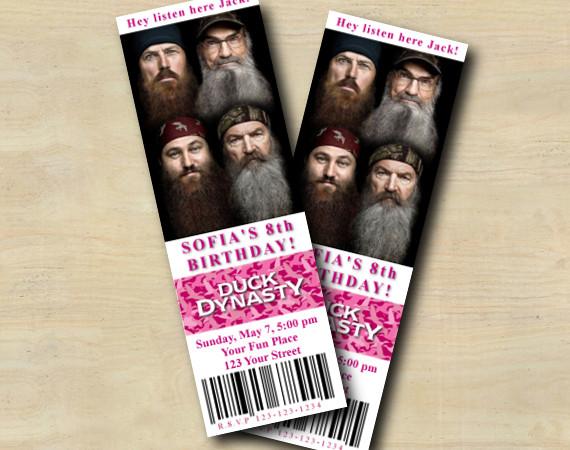 Duck Dynasty Ticket Invitation | Personalized Digital Card