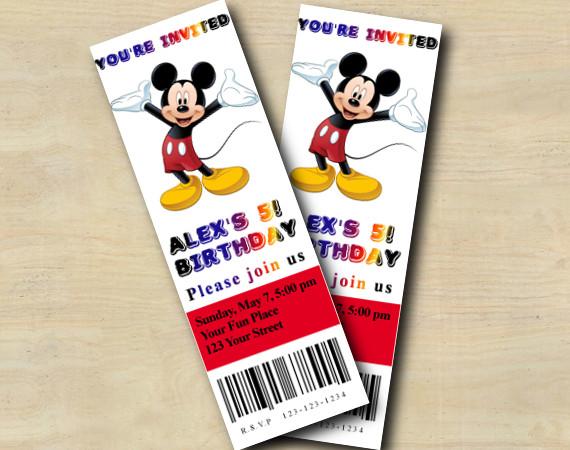 Mickey Ticket Invitation   Personalized Digital Card