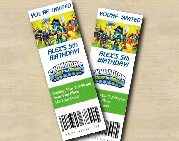 Skylanders Ticket Invitation | Personalized Digital Card