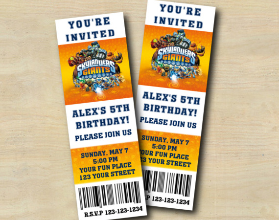 Skylanders Ticket Invitation | Personalized Digital Card