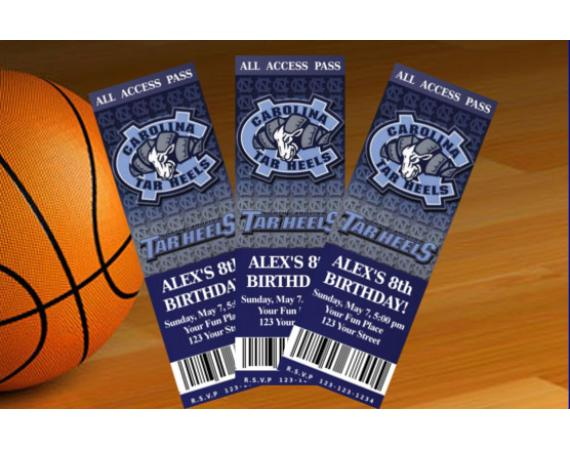 North Carolina Tar Heels Ticket Invitation   Personalized Digital Card