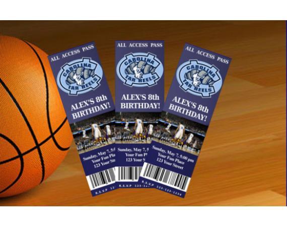 North Carolina Tarheels Ticket Invitation | Personalized Digital Card