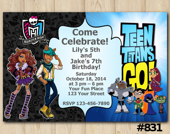 Twin Monster High and Teen Titans Go Invitation | Personalized Digital Card