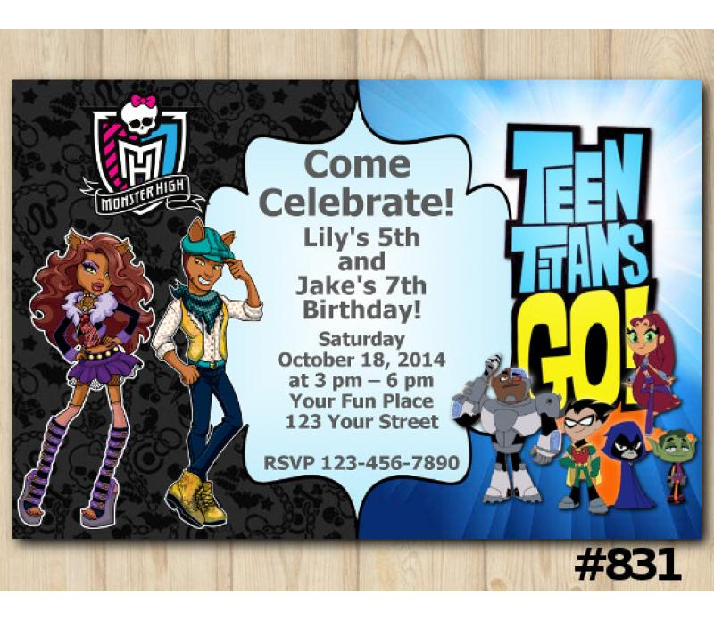 Twin Monster High and Teen Titans Go Birthday Invitation