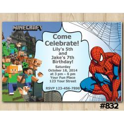 Twin Minecraft and Spiderman Invitation