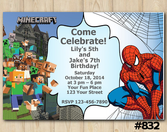 Twin Minecraft and Spiderman Invitation | Personalized Digital Card
