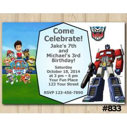 Twin My Little Pony and Transformers Birthday Invitation Joint Twin