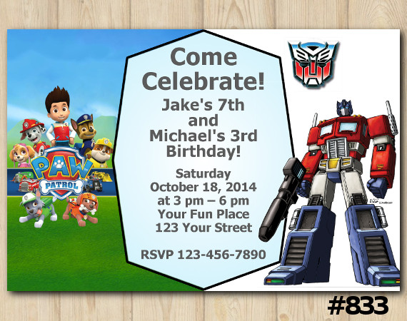 Twin Paw Patrol and Transformers Invitation | Personalized Digital Card