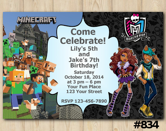 Twin Minecraft and Monster High Invitation | Personalized Digital Card