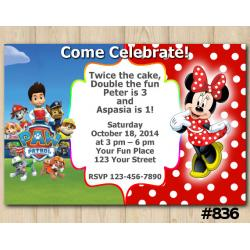 Twin Paw Patrol and Minnie Mouse Invitation